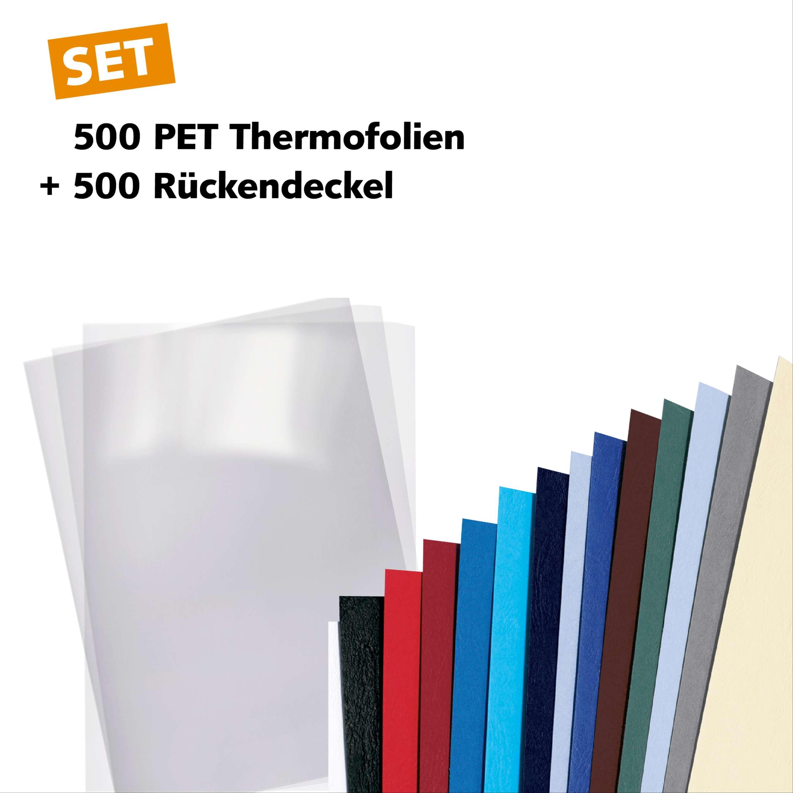 500 PET-Thermofolien und Rückendeckel - Startset