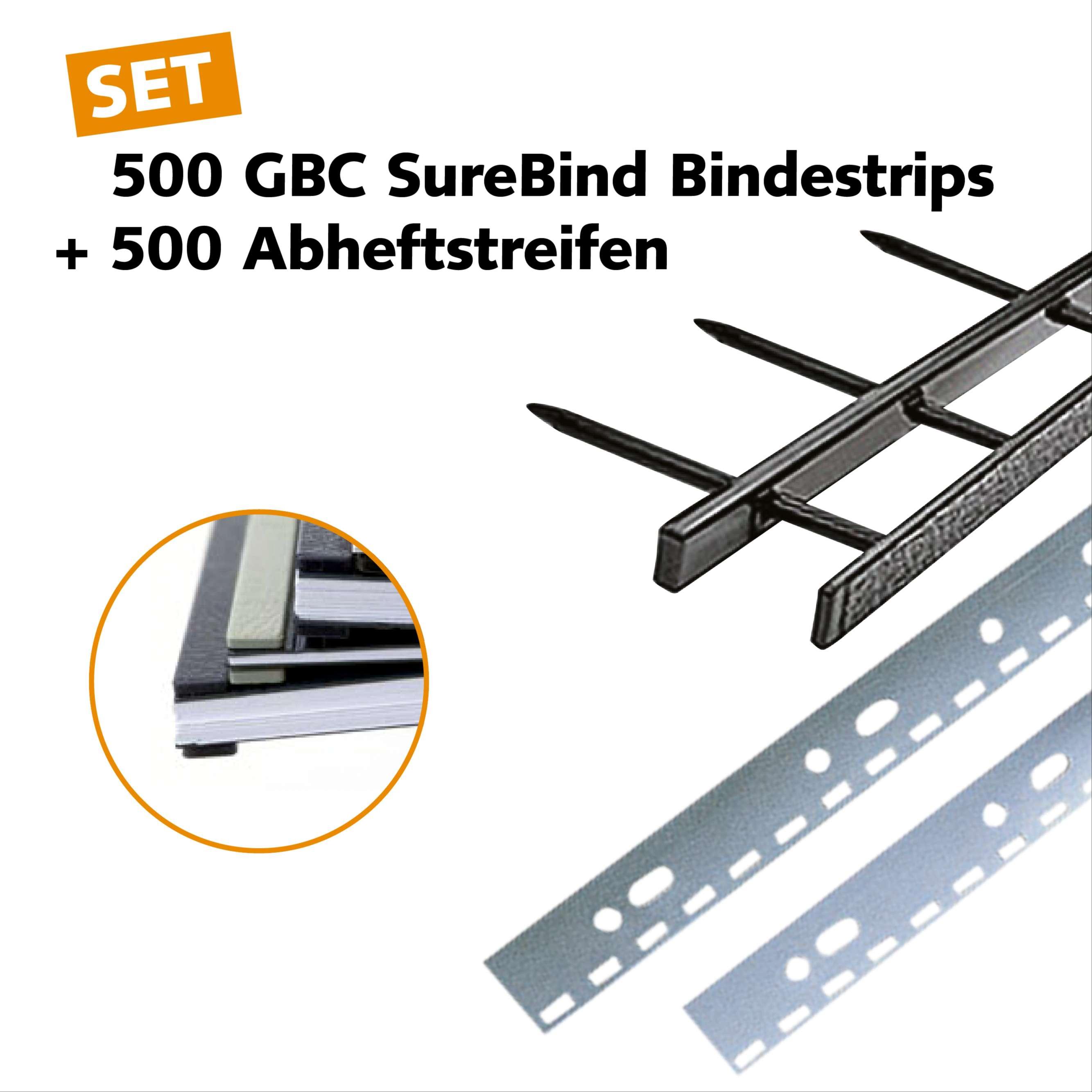 500 GBC SureBind Bindestrips inkl. Abheftstreifen - Startset